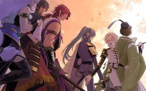 Picture art, guys, warriors, Touken Ranbu, Dance of swords