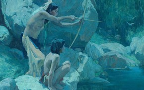 Picture bow, arrow, hunting, river, 1923, Eanger Irving Couse, Night Birds