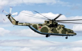 Wallpaper the sky, helicopter, coloring, flies, Mi-26, Mi-26