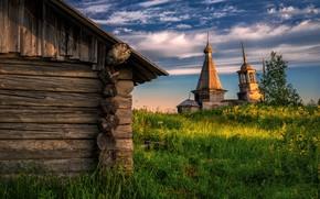 Picture village, temple, Arkhangelsk oblast, The Onega district, Volozero