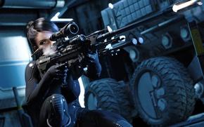 Wallpaper sniper, metal gear solid v the phantom pain, rifle, girl, sleeve, shot