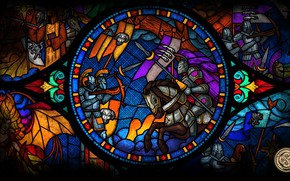 Picture glass, the game, monster, beauty, flag, stained glass, armor, battle, heroes, art, knights, heroes, banner, …
