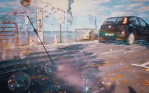 Picture machine, autumn, bubbles, rain, rainbow, umbrella, promenade