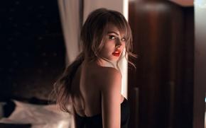 Picture look, girl, sweetheart, model, back, beauty, the beauty, shoulder, red lips, Anastasia Shcheglova, Valeria Krivaja