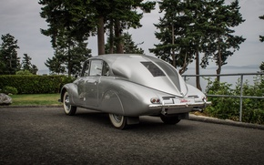Picture asphalt, trees, retro, background, silver, the bushes, Fastback, Czechoslovakia, Fastback, Executive, Tatra 87