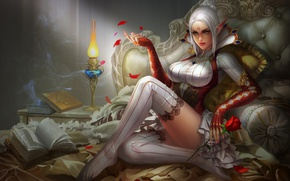 Wallpaper elf, girl, fantasy, rose, wine, glass, art, bed, yunpeng li