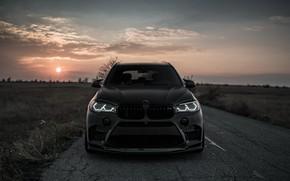 Wallpaper sunset, front view, 2018, BMW X5, X5M, Z Performance