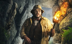 Wallpaper stones, torch, adventure, fantasy, Jumanji: Welcome to the Jungle, Jumanji: the jungle, hat, fire, cave, ...