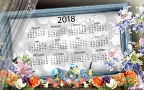 Wallpaper flowers, new year, 2018, calendar