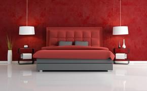 Picture lamp, bed, vase, bedroom