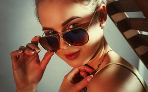 Picture look, face, portrait, hands, glasses, Anna, Vadim Mironov