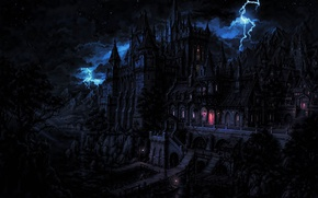 Wallpaper forest, lightning, night, lair, vampire, thunder, terror, mansao