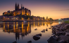 Wallpaper Maysen, Albrechtsburg castle, Germany, the evening, fortress, Meissen, lights