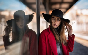 Picture glass, girl, reflection, street, the building, portrait, hat, makeup, hairstyle, brown hair, beauty, in red, …