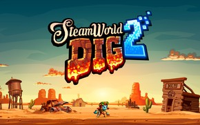 Wallpaper Image and Form International AB, SteamWorld Dig 2, Microsoft Windows, Nintendo Switch, car, desert, sand, ...