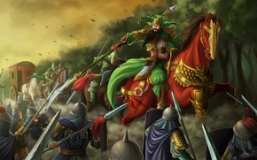 Picture game, gold, forest, soldier, armor, war, man, army, fight, dragon, horse, asian, shield, warrior, chinese, …