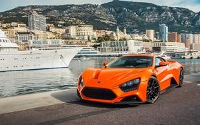 Picture supercar, ST1, Zenvo, orange, Monaco