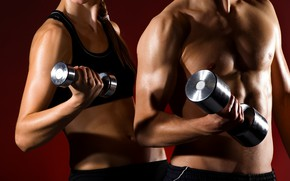 Picture woman, muscle, man, couple, together, fitness, gym, healthy, health, fit, weight lifting, partners, dumbell, man …