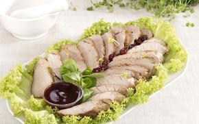 Picture meat, sauce, salad, ham