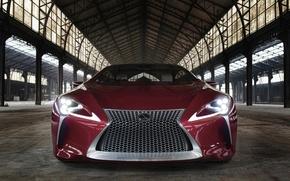 Picture car, Lexus, red, logo, strong, Lexus LC 500