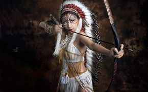Wallpaper Native American, bow, asian, arrow, weapon, asiatic, brunette, girl, cosplay
