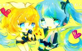 Picture children, two, Vocaloid, Vocaloid, Hatsune Miku, Kagamine Rin