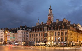 Wallpaper building, square, Lille, France, the evening, lights