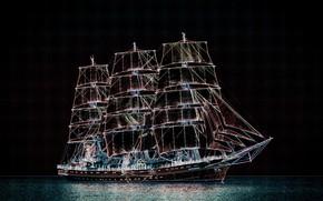 Picture sea, the sky, sailboat