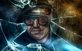 Picture glasses, hood, bristles, THE WORKER