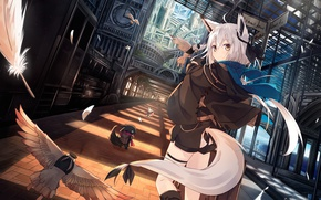Picture girl, birds, train, tail, ears, anime, art