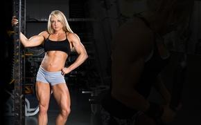 Picture blonde, pose, fitness model, Kristi