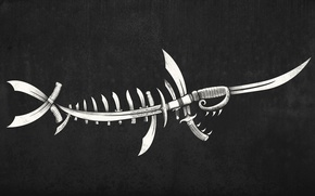 Picture background, fish, skeleton, knives, daggers