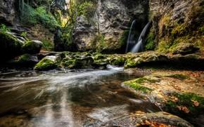 Wallpaper nature, stones, moss, rock, waterfall