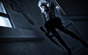 Wallpaper hair, gas mask, machine, girl, style
