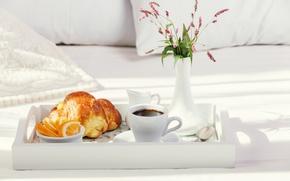 Picture flowers, coffee, orange, milk, vase, tray, croissant, Breakfast in bed