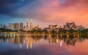 Picture reflection, tower, skyscraper, home, panorama, Malaysia, Kuala Lumpur