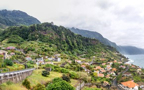 Picture sea, forest, clouds, mountains, rocks, coast, home, slope, panorama, Portugal, Madeira, Ponta do Sol