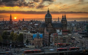 Picture road, sunset, machine, building, home, Amsterdam, Netherlands, buses, Amsterdam, Netherlands
