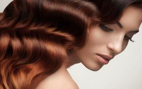 Picture girl, portrait, brown hair, long hair, beautiful