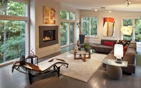 Picture table, furniture, Windows, fireplace, mansion, living room