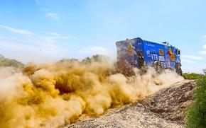 Picture The sky, Grass, Dust, Sport, Speed, Race, Master, Dirt, Day, Squirt, Russia, Kamaz, Rally, Dakar, …