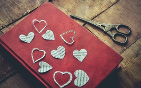 Wallpaper heart, book, scissors