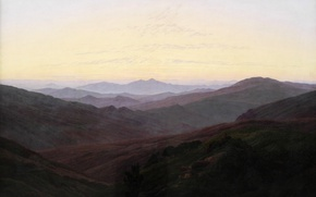 Picture landscape, mountains, picture, Caspar David Friedrich, Riesengebirge