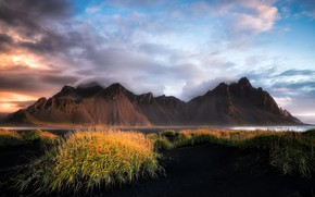 Picture sea, mountains, shore, Iceland