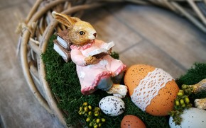 Picture eggs, Easter, Bunny, wreath, decor