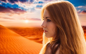 Wallpaper dream, light, girl, summer, fantasy, desert, nature, young, model, sun, pretty, mood, look, wind, cute, ...