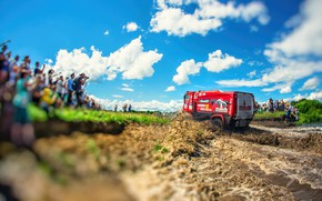 Picture The sky, Water, Red, Sport, People, Truck, Race, Puddle, Squirt, Rally, Rally, The roads, MAZ, …