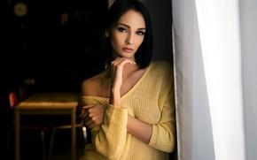 Wallpaper Sergey Zhirnov, depth of field, lips, portrait, model, long hair, looking at camera, black nails, ...