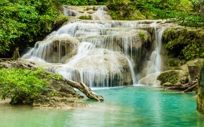 Picture forest, river, waterfall, forest, river, landscape, jungle, beautiful, waterfall, tropical