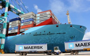 Picture Port, The ship, Cargo, A container ship, Cranes, Terminal, Tugs, Container, Maersk, Maersk Line, Cargo, …